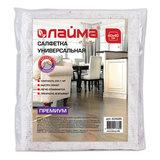 Салфетка универсальная, 40х40 см, плотность 200 г/м<sup>2</sup>, ХПП, 95% хлопок, 5% полиэфир, премиум ЛАЙМА, 604688