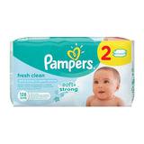 """Салфетки влажные 128 шт. (64х2), PAMPERS (Памперс) """"Baby Fresh Clean"""", для нежного очищения, PA-81627612"""