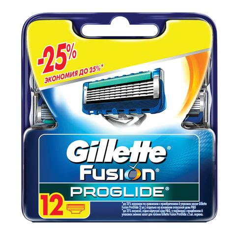 """Сменные кассеты для бритья 12 шт., GILLETTE (Жиллет) """"Fusion ProGlide"""", для мужчин, GIL-81521963"""