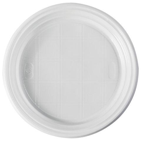 Одноразовые тарелки плоские, КОМПЛЕКТ 100 шт., d = 205 мм, ЭКОНОМ, белые, полистирол (ПС), СТИРОЛПЛАСТ