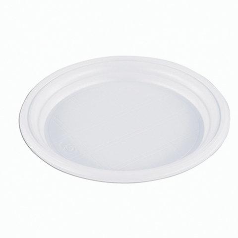Одноразовые тарелки плоские, КОМПЛЕКТ 100 шт, пластиковые, d=165 мм,