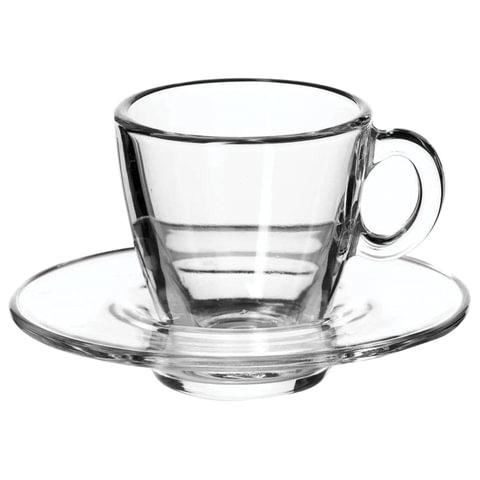 Набор кофейный на 6 персон (6 чашек объемом 72 мл, 6 блюдец), стекло,