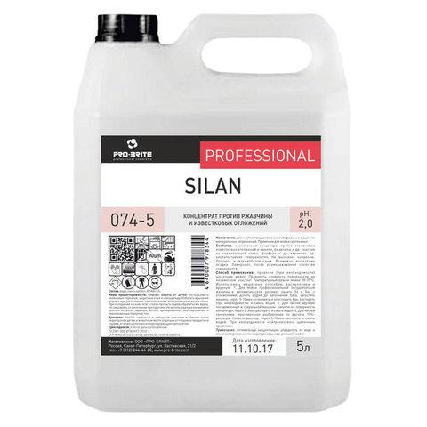 Средство для чистки посудомоечных и стиральных машин 5 л, PRO-BRITE SILAN, от минеральных отложений, кислотное, 074-5