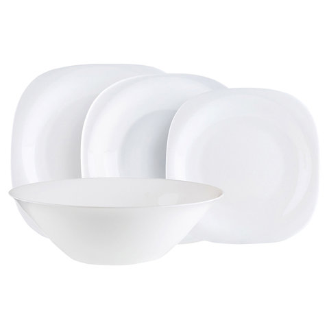 Набор посуды столовый, 19 предметов, белое стекло,
