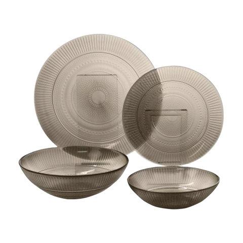 Набор посуды столовый, 20 предметов, дымчатое стекло,
