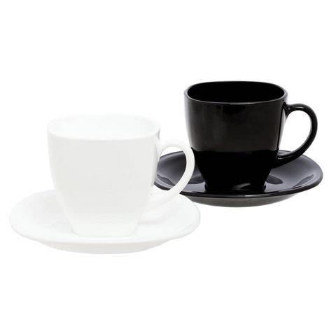 Набор чайный на 6 персон, 3 черные и 3 белые чашки 220 мл, 3 черных и 3 белых блюдца,