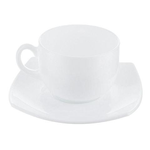 Набор чайный на 6 персон, 6 чашек 220 мл и 6 блюдец, белое стекло,