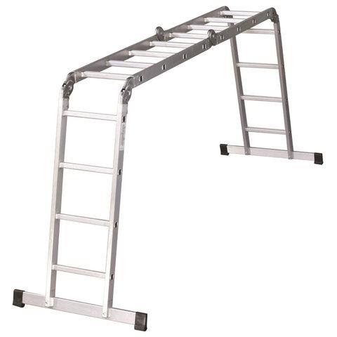 Лестница-трансформер алюминиевая 4х4 ступеней, высота 4,5 м (4 секции по 1,27 м), нагрузка 150 кг, вес 12,9 кг, 511444