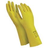 """Перчатки латексные MANIPULA """"Блеск"""", хлопчатобумажное напыление, размер 7-7,5 (S), желтые, L-F-01"""