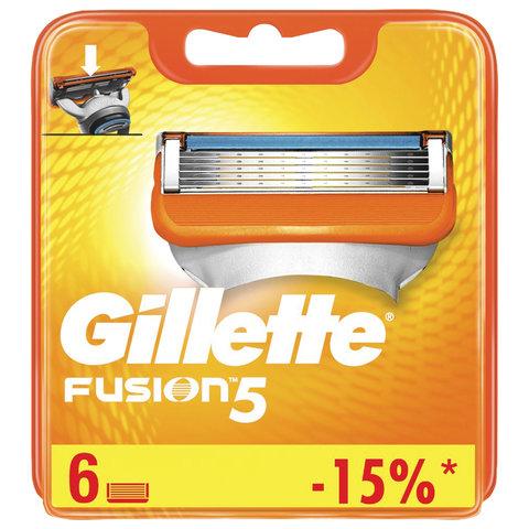 Сменные кассеты для бритья 6 шт. GILLETTE (Жиллет) Fusion, для мужчин, 50016225