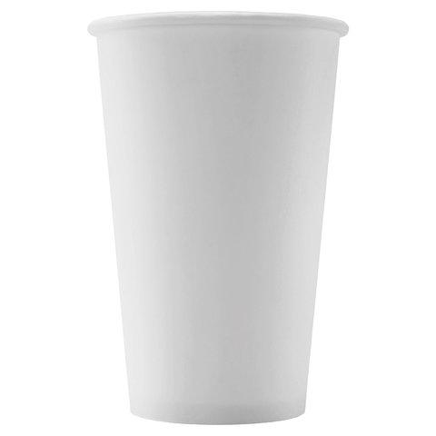 Одноразовые стаканы 400 мл, КОМПЛЕКТ 50 шт., бумажные однослойные, белые, холодное/горячее, ФОРМАЦИЯ, HB90-530-0000