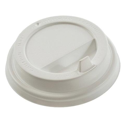 Одноразовые крышки для стакана 250 мл (d-80), КОМПЛЕКТ 100 шт., клапан-носик, белые, ФОРМАЦИЯ, CH-80F-A