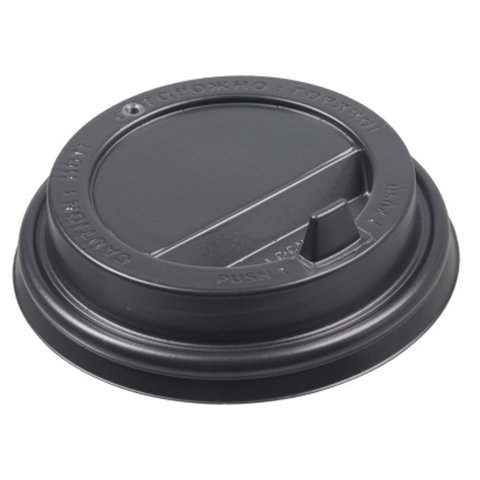 Одноразовые крышки для стакана 250 мл (d-80), КОМПЛЕКТ 100 шт., клапан-носик, черные, ФОРМАЦИЯ, CH-80FB-A