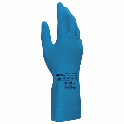 Перчатки латексные MAPA Superfood/Vital 177, внутреннее хлорированное покрытие, размер 8 (M), синие