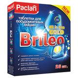 "Таблетки для мытья посуды в посудомоечных машинах 25 шт., PACLAN Brileo ""All in one Gold"", 419120"