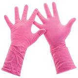 """Перчатки хозяйственные латексные, хлопчатобумажное напыление, разм L (средний), розовые, PACLAN """"Practi Comfort"""", 407272"""