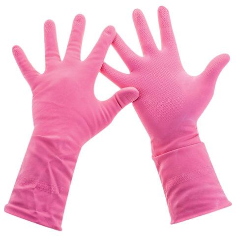 Перчатки хозяйственные латексные, хлопчатобумажное напыление, разм L (средний), розовые, PACLAN