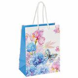 """Пакет подарочный 17,8x9,8x22,9 см, ЗОЛОТАЯ СКАЗКА """"Бабочка на цветке"""", ламинированный, 606578"""
