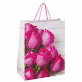"""Пакет подарочный 26x12,7x32,4 см, ЗОЛОТАЯ СКАЗКА """"Розовые розы"""", ламинированный, 606582"""