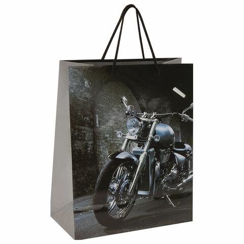 """Пакет подарочный 26x12,7x32,4 см, ЗОЛОТАЯ СКАЗКА """"Мотоцикл"""", ламинированный, 606589"""