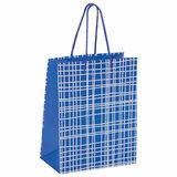 """Пакет подарочный 17,8x9,8x22,9 см, ЗОЛОТАЯ СКАЗКА """"В голубую клетку"""", ламинированный, 606597"""