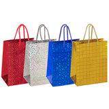 Пакет подарочный 17,8x9,8x22,9 см, ЗОЛОТАЯ СКАЗКА голография, ассорти 4 цвета, 606606