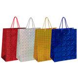 Пакет подарочный 26x12,7x32,4 см, ЗОЛОТАЯ СКАЗКА голография, ассорти 4 цвета, 606607