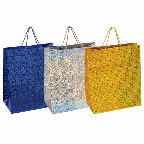 Пакет подарочный 40,6x19x48,8 см, ЗОЛОТАЯ СКАЗКА голография, ассорти 3 цвета, 606611