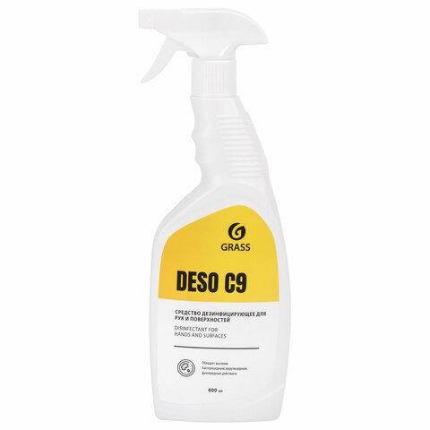 Антисептик для рук и поверхностей спиртосодержащий (70%) с распылителем 600 мл GRASS DESO C9, дезинфицирующий, жидкость, 550023