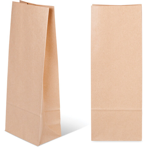 Крафт пакет бумажный 12х8х33 см, под бутылку, плотность 70 г/м2, 606862