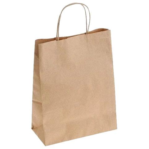 Крафт пакет бумажный 26х15х35 см, крученые ручки, плотность 70 г/м2, 606871, 009-000030-003
