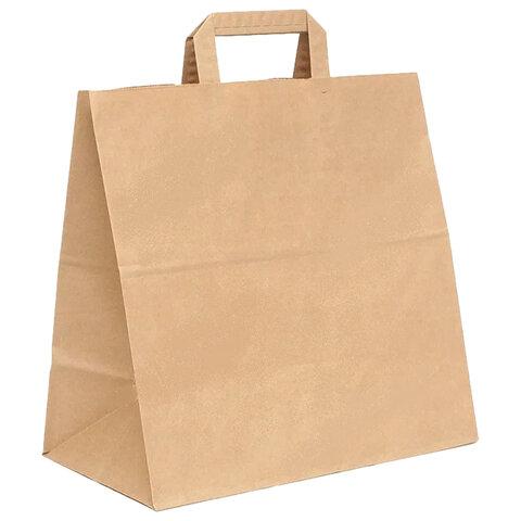 Крафт пакет бумажный 32х20х37 см, плоские ручки, плотность 70 г/м2, 606872