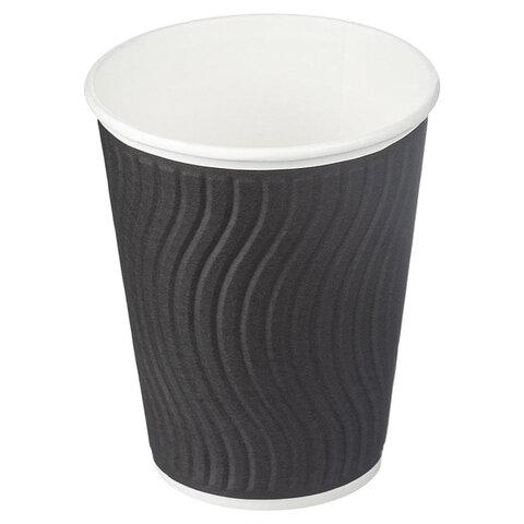 Одноразовые стаканы 300 мл, КОМПЛЕКТ 40 шт., бумажные ДВУХСЛОЙНЫЕ, Impresso Black Wave, холодное/горячее, HUHTAMAKI, 771W1200-2406