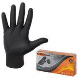 Перчатки нитриловые повышенной прочности, КОМПЛЕКТ 25 пар, размер XL (очень большой), E-DUO, черные, E65-0X-Black