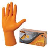 Перчатки нитриловые повышенной прочности с удлиненной манжетой, КОМПЛЕКТ 25 пар, размер M (средний), E-DUO, оранжевые, E105-0x-Orange