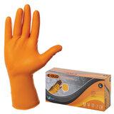 Перчатки нитриловые повышенной прочности с удлиненной манжетой, КОМПЛЕКТ 25 пар, размер L (большой), E-DUO, оранжевые, E105-0x-Orange
