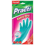 """Перчатки хозяйственные резиновые, хлопчатобумажное напыление, 100% флок, размер L, синие, """"Practi Extra Dry"""", PACLAN, 7350, 407350"""