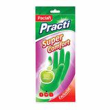 """Перчатки хозяйственные резиновые, хлопчатобумажное напыление, аромат яблока, размер M, зеленые, """"Super Comfort"""", PACLAN, 407154"""