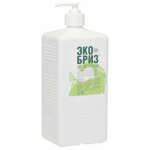 Антисептик для рук и поверхностей спиртосодержащий (60%) с дозатором 1л ЭКОБРИЗ, дезинфицирующий, жидкость