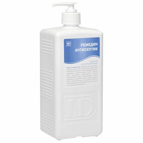 Антисептик для рук и поверхностей спиртосодержащий (63%) с дозатором 1л РЕМЕДИН, дезинфицирующий, жидкость