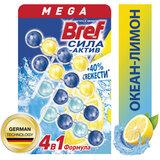 """Блок туалетный подвесной твердый 4 шт. х 50 г BREF (Бреф), Сила-Актив """"Лимонная Свежесть/Океанский бриз"""", 2293911"""