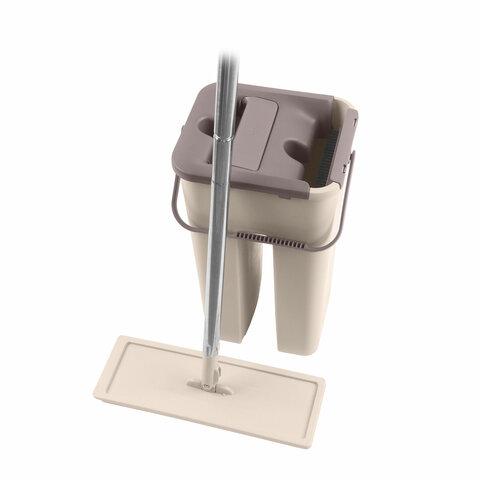 Набор для уборки: швабра, МОП, двухкамерное ведро с отжимом MILEY EASY MOP, сменная насадка МОП 607753, 100-170