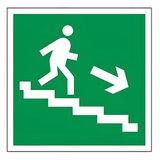 """Знак эвакуационный """"Направление к эвакуационному выходу по лестнице НАПРАВО вниз"""", квадрат 200х200 мм, самоклейка, 610018/Е 13"""