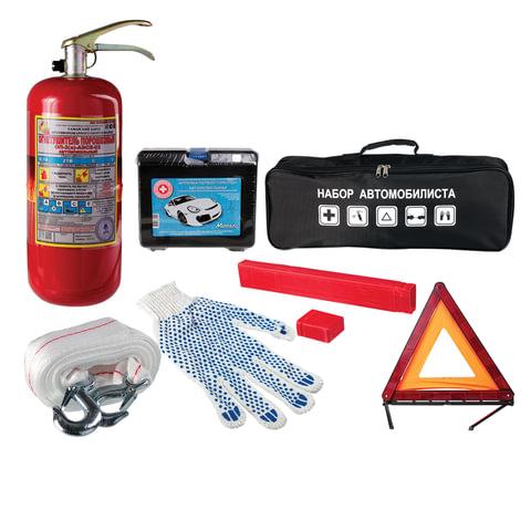 Автомобильный набор универсальный: аптечка, огнетушитель ОП-2, трос усиленный, аварийный знак, сумка, 10856