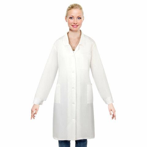 Халат рабочий женский белый, бязь, размер 56-58, рост 158-164, плотность ткани 142 г/м2, 610707