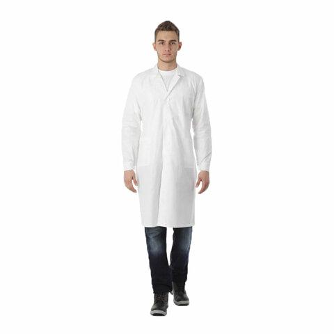 Халат рабочий мужской белый, бязь, размер 56-58, рост 170-176, плотность ткани 142 г/м2, 610720