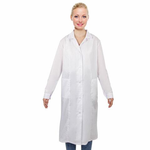 Халат медицинский женский белый, тиси, размер 48-50, рост 170-176, плотность ткани 120 г/м2, 610740
