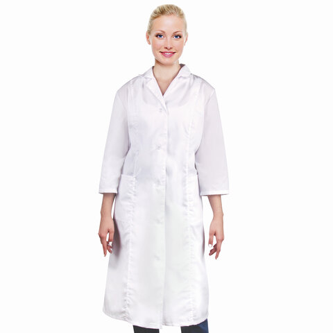 Халат медицинский женский белый, рукав 3/4, тиси, размер 48-50, рост 158-164, плотность ткани 120 г/м2, 610747