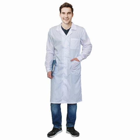 Халат медицинский мужской белый, тиси, размер 56-58, рост 170-176, плотность 120 г/м2, 610762