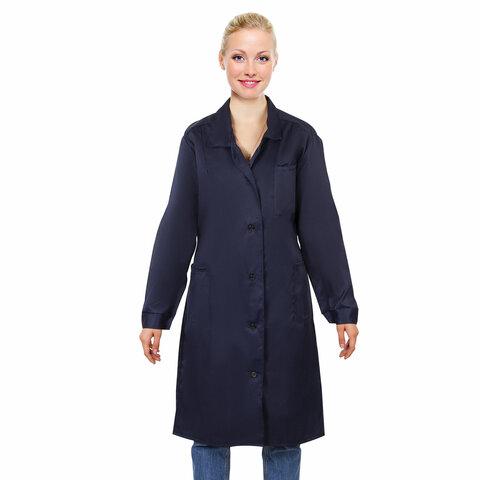 Халат технолога женский синий, смесовая ткань, размер 48-50, рост 158-164, плотность ткани 200 г/м2, 610775